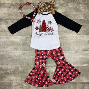 Baby it's cold outside snowflake boutique outfit